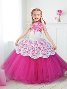 Popular Halter Top Laced and Beaded Flower Girl Dress in Hot Pink