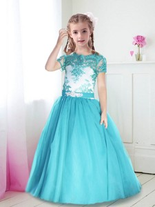 Best Scoop Short Sleeves Turquoise Flower Girl Dress with Lace and Belt