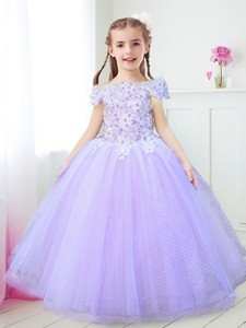 Modest Off the Shoulder Lavender Flower Girl Dress with Appliques and Beading