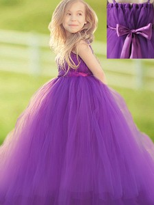 Classical Handcrafted Flower and Bowknot Flower Girl Dress in Eggplant Purple