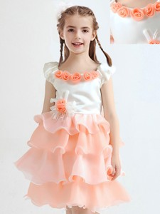 2017 Handcrafted Flower and Ruffled Layers Flower Girl Dress in White and Peach