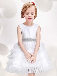 Low Price Ruffled Layers and Bowknot Scoop White Flower Girl Dress in White