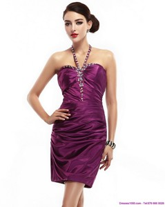 Halter Top Short Dama Dress With Ruching And Beading