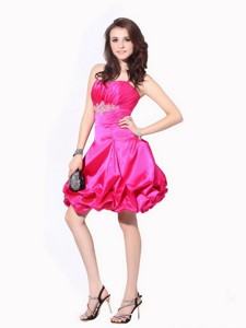 Ruching Strapless Prom Dress With Pick Ups And Appliques
