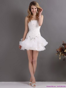 White Strapless Mini Length Prom Dress With Rhinestones