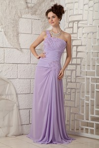 Customize Lavender Empire One Shoulder Prom Dress Chiffon Appliques Brush Train