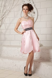 Popular Baby Pink A-line Knee-length Beading Prom Dress in Taffeta