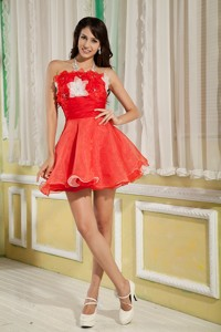 Lovely Red Princess Cocktail Dress Strapless Organza Hand Made Flowers Mini-length