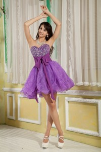 Customize Lavender Princess Cocktail Dress Sweetheart Mini-length Organza Beading