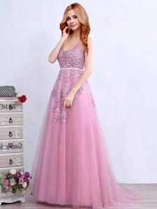 Wonderful V Neck Applique and Belted Prom Dress with Brush Train