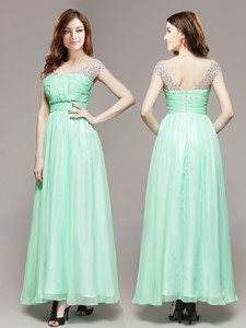 Affordable V Neck Cap Sleeves Apple Green Prom Dress with Beading
