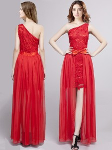 Cheap One Shoulder Red Detachable Prom Dress with Bowknot and Lace