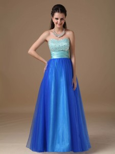 Apple Green And Royal Blue Strapless Floor-length Taffeta And Tulle Beading Prom Dress