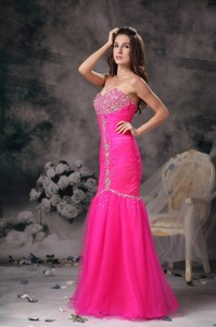 Custom Made Hot Pink Prom / Evening Dress Mermaid Sweetheart Organza Beading Floor-length